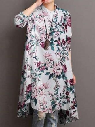 Stylish Floral print Lapel Long sleeve Shirt Shift Dresses