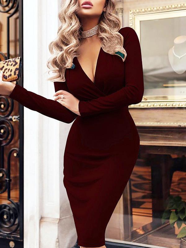 Sexy slim v neck women long sleeve bodycon dresses