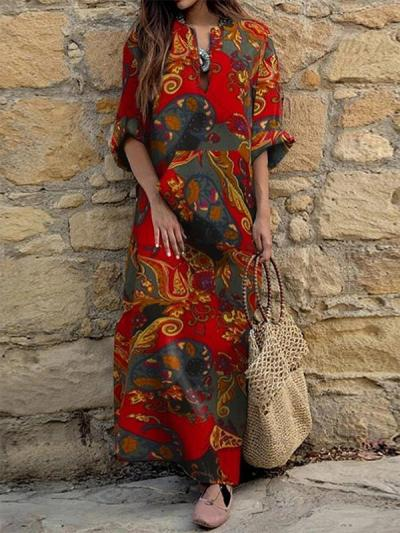 V-neck long-sleeved ethnic print loose maxi dresses