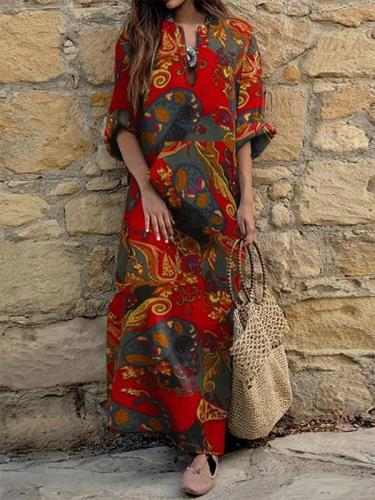 V-neck long-sleeved ethnic print loose maxi dresses