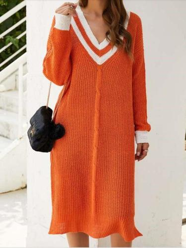 Casual Loose Stripe V neck Long sleeve Knit Maxi Dresses