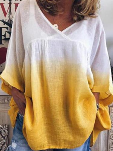 Gradient print fashion V neck loose casual middle sleeve T-shirts Blouses