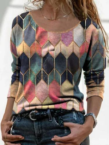 Long-sleeved retro geometric printed T-shirts