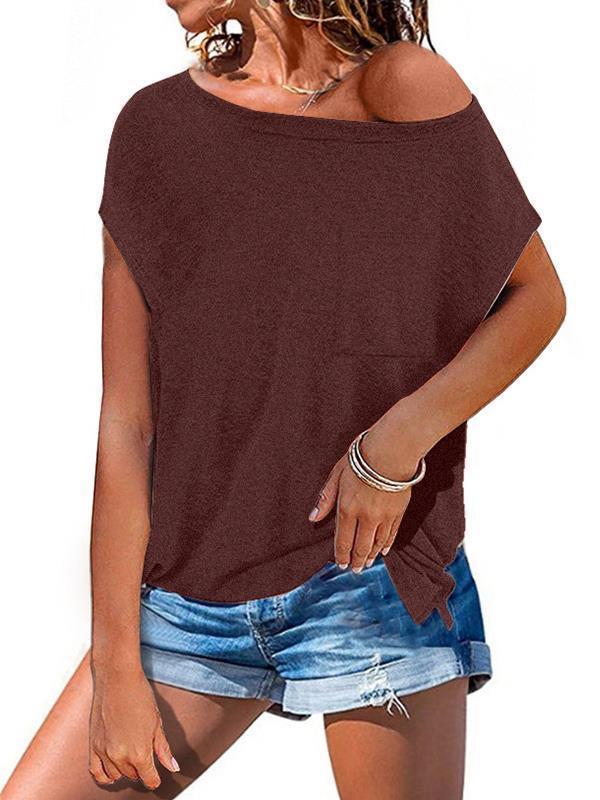 Short sleeve open shoulder round neck plain color pocket T-shirts