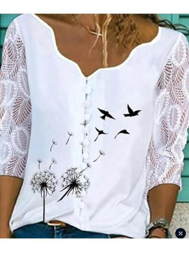 Lace three quarter sleeve printed turtleneck button solid blouses