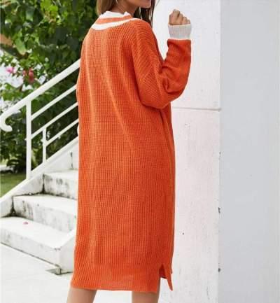 Casual Loose Stripe V neck Long sleeve Knit Maxi Dresses