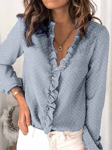 V-neck Button Ruffle Blouse