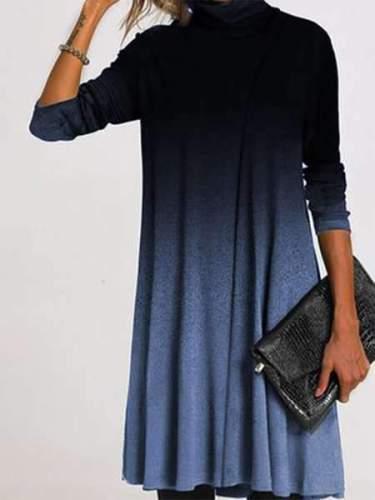 Stylish Elegent Gradient High collar Long sleeve Shift Dresses