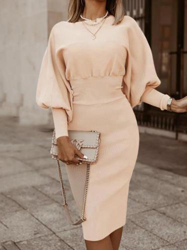 Long sleeve lantern sleeve slim bodycon dresses