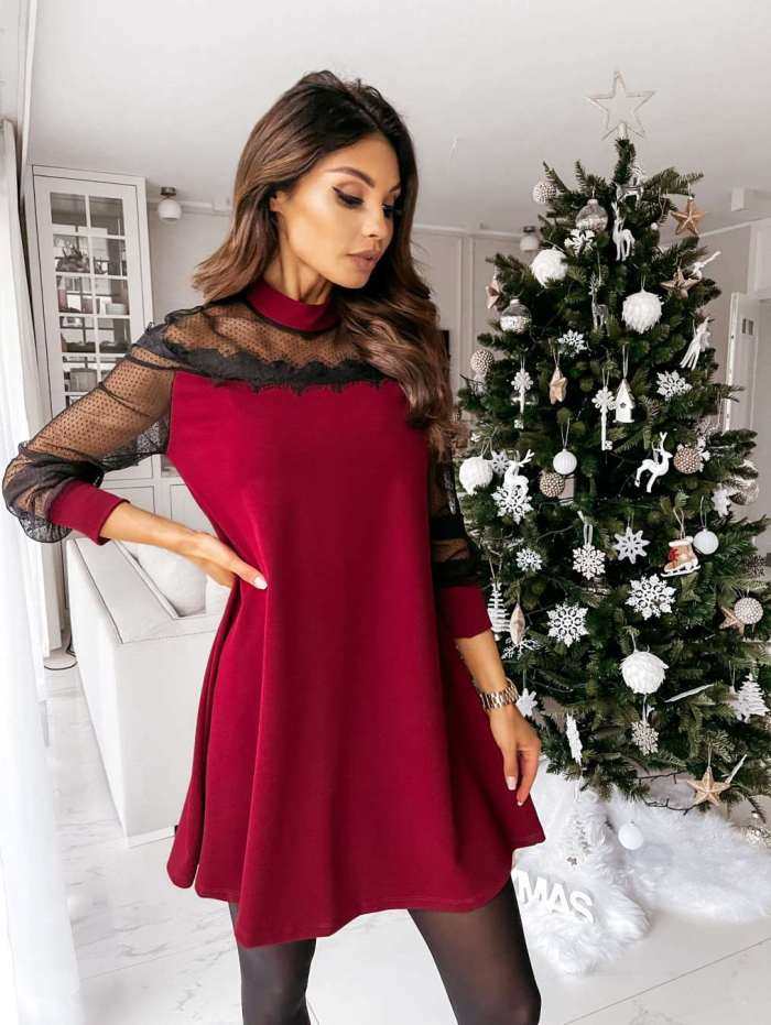 Fashion Sexy Pure Lace Gored Stand collar Long sleeve Shift Dresses