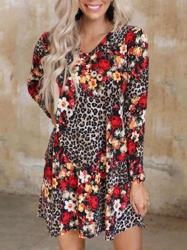 Fashion Leopard Floral Print V neck Long sleeve Shift Dresses