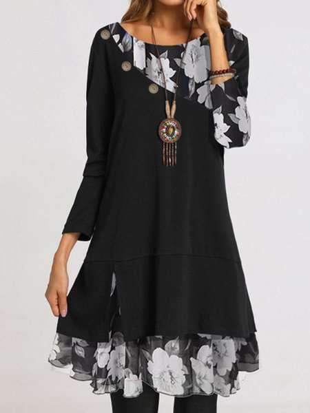 Casual Gored Floral print Round neck Long sleeve Shift Dresses