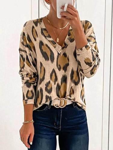 Women Fashion leopard print sexy V-neck all-match T-shirts