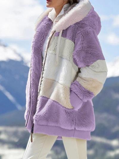 Women Stylish Multicolor Plush Hooded Coats