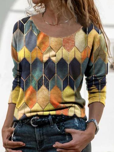 Long-sleeved retro geometric printed T-shirts