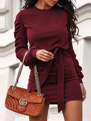 Solid color round neck long sleeve skater dresses