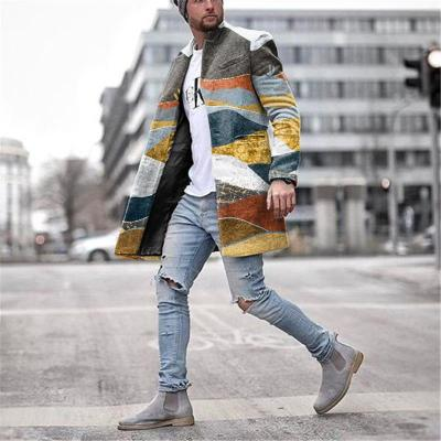 Men's Fashion Color Block Lapel Casual Coat Jacket