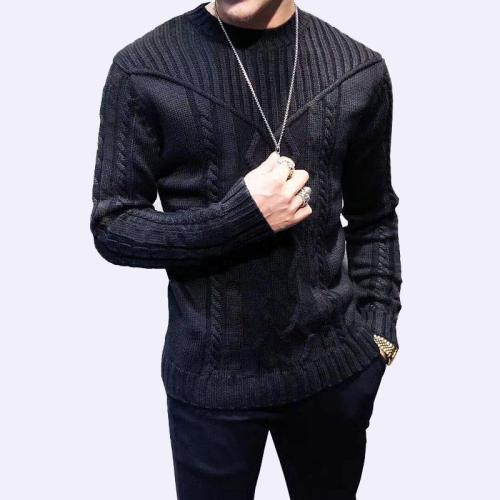 Black Sweater Round Neck Jacquard Knit