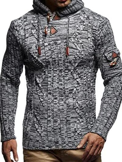 Men's Fashion Hooded Twist Knitted Sweater