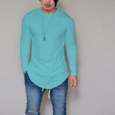 Long Sleeve Solid Color Round Neck Slim T-Shirt