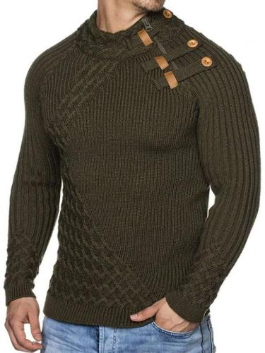Men's Stand-Up Collar Button Zip Pure Color Sweater