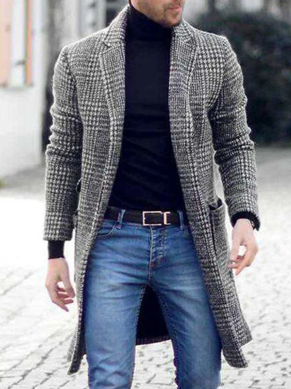 Bunivo Retro Simple Plaid Woolen Coat