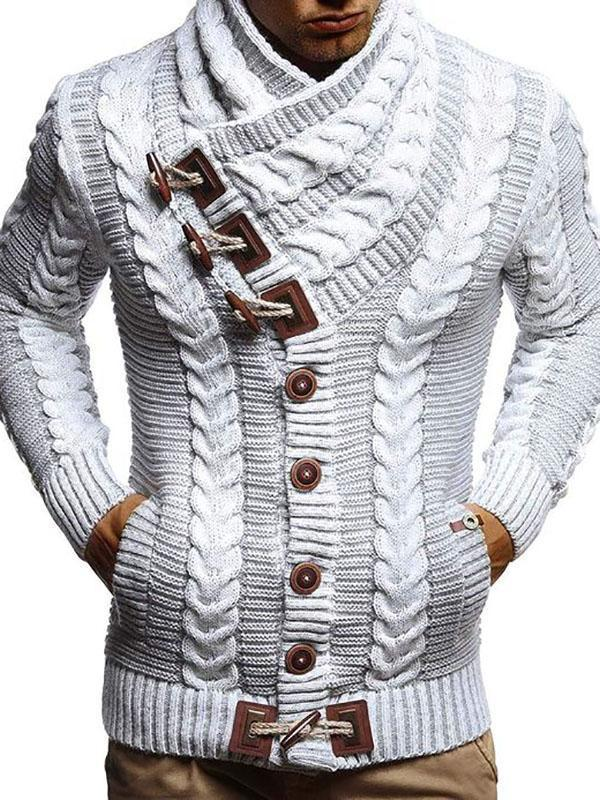 Mens Stand Collar Horn Button Knitted Sweater