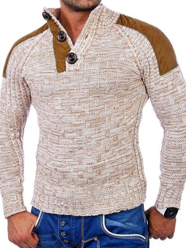 Men's Stand Collar Patchwork Button Knit Sweater