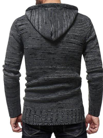 Men's Fashion Double-Breasted Hooded Knitted Sweater