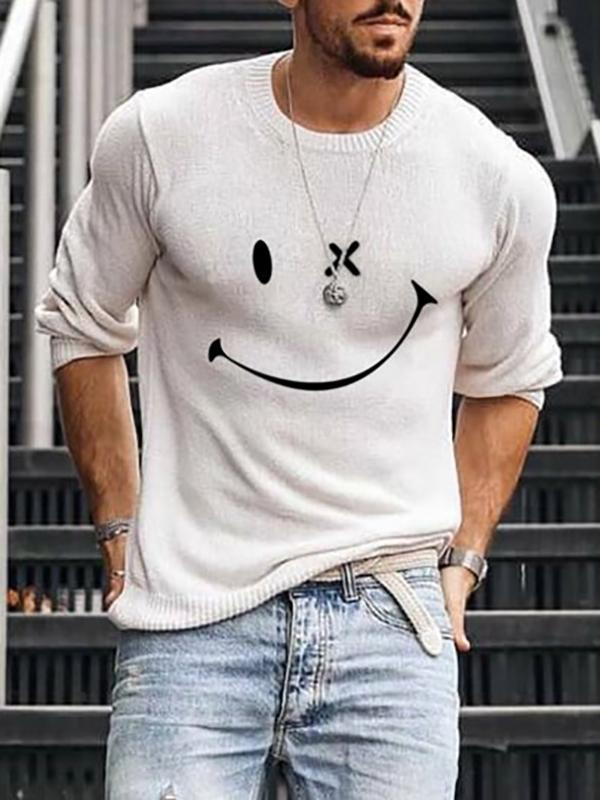 Mens Letter Print Round Neck Long Sleeve Sweater