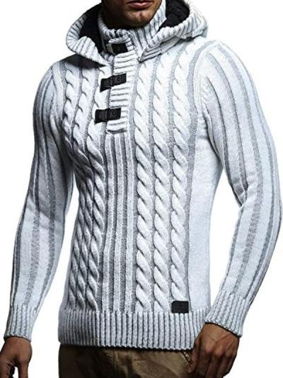Men's Fashion Slim Stand Collar Hooded Sweater