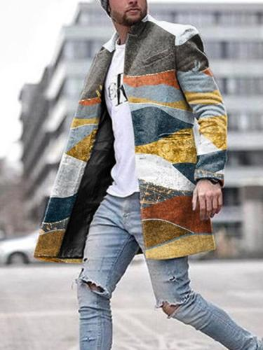 Men's Fashion Color Block Lapel Casual Coat Jacket