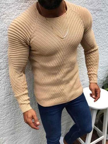 Men's Casual Fashion Slim Round Neck Pullover Sweater