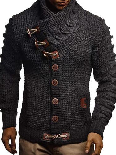 Men's Fashion Casual Button Turtleneck Sweater Coat