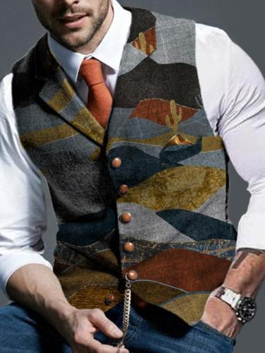 Retro Camouflage Print Lapel Fashion Slim Waistcoat