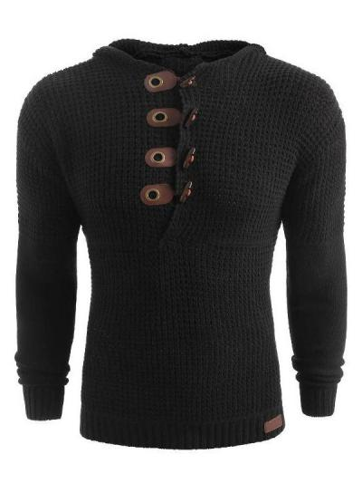 Men's long-sleeved horn button oblique button bottoming shirt