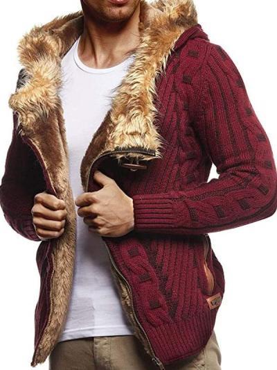 Mens Casual Diagonal Zipper Plus Fleece Hooded Sweater Coat