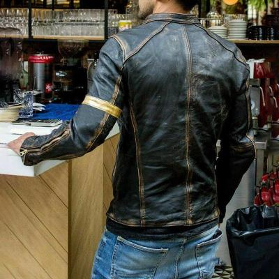 Men Stand-Collar Punk Motorcycle Leather Jacket