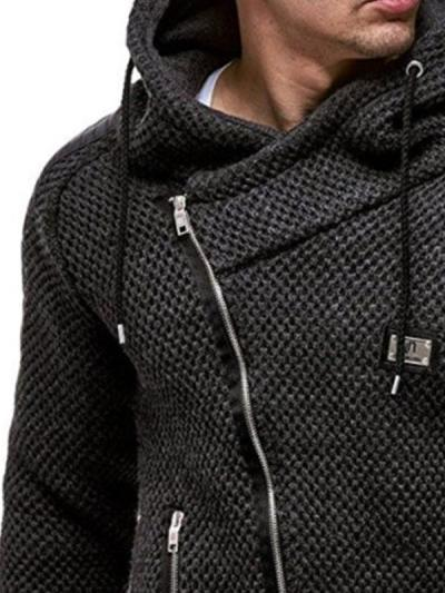 Mens Black PU Patchwork Long Sleeve Zip Sweater Jacket