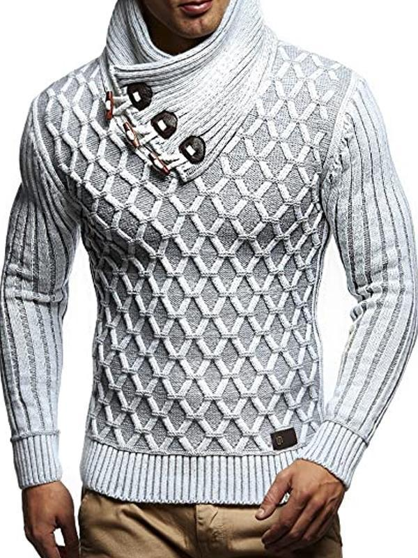 Mens Fashion Casual Stand Collar Button Up Sweater