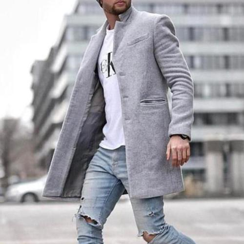 Fashion Out Solid Color Mid-length Woolen Coat