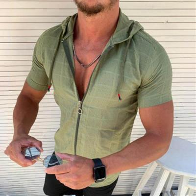 Casual Short Sleeve Hooded Zipper T-Shirt