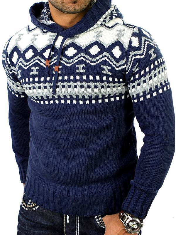 Men's Fashion Contrast Stitching Hooded Sweater