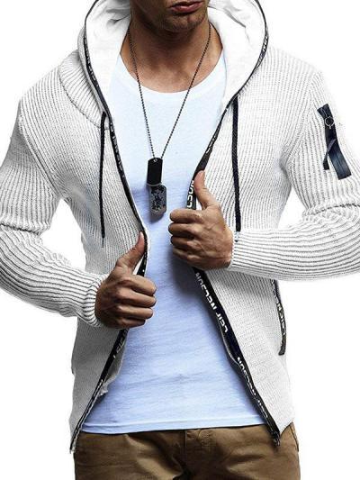 Men's Fashion Zipper Hooded Sweater Jacket