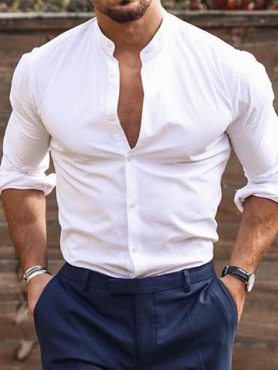 Mans Stylish Round Neck Long Sleeves Solid-color Shirt
