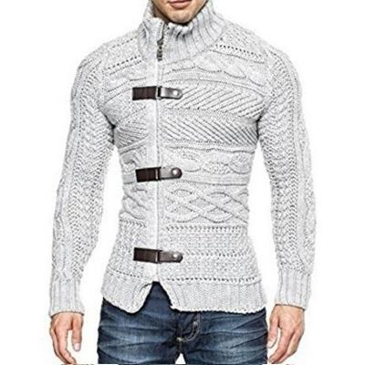 Men's High Neck Leather Button Knitted Sweater