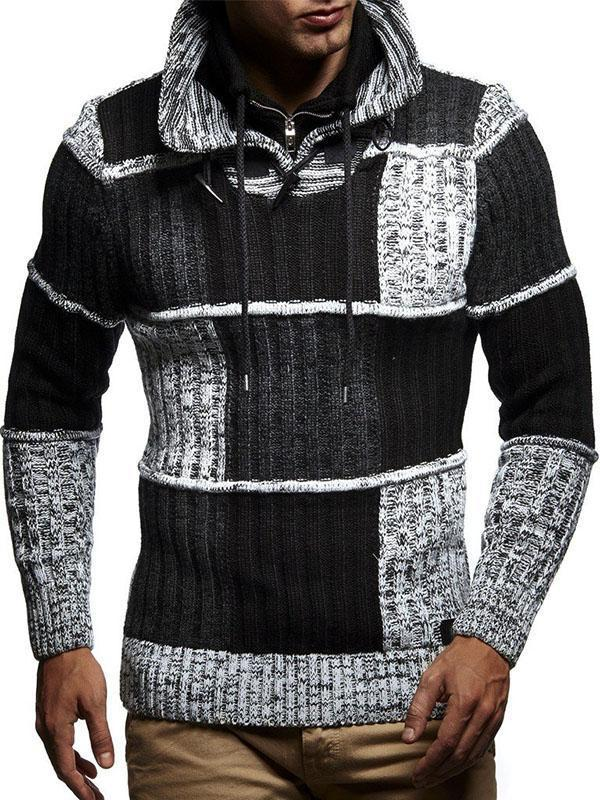Men's Patchwork Stand Collar Knitted Sweater