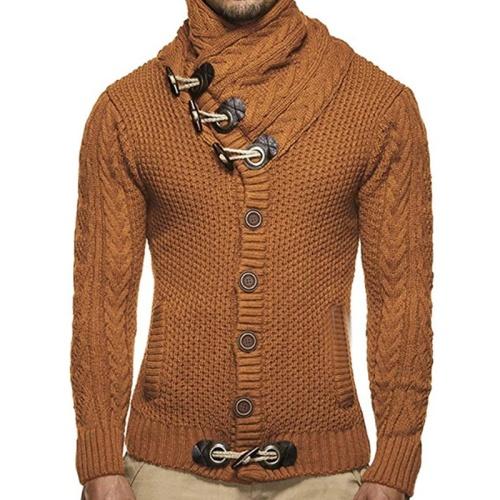 Men's Fashion Plain Single-Breasted Sweater Jacket
