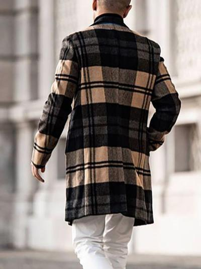 Men's Fashion Casual Mid-Length Checked Coat