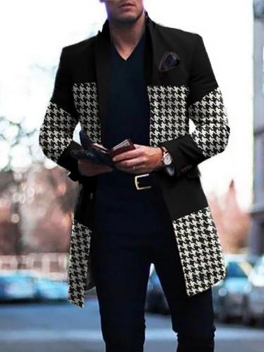 Mens Fashion Casual Mid-Length Plaid Stitching Jacket